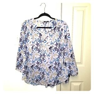 Nydj purple floral blouse size pxl